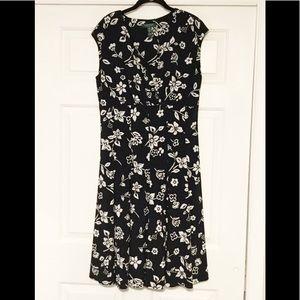 Lauren Ralph Lauren Black Floral Dress 14W